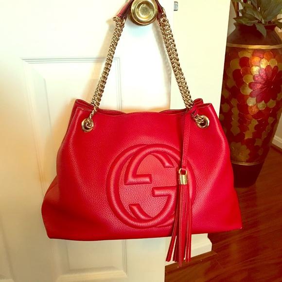 Gucci Handbags - Gucci Soho Chain Strap Handbag Red Leather Tote